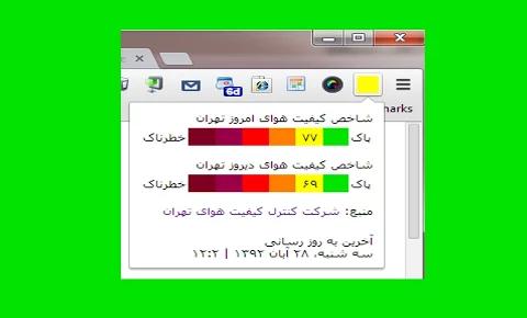 مشاهده شاخص آلودگی هوای تهران بر روی نوار ابزار کروم !